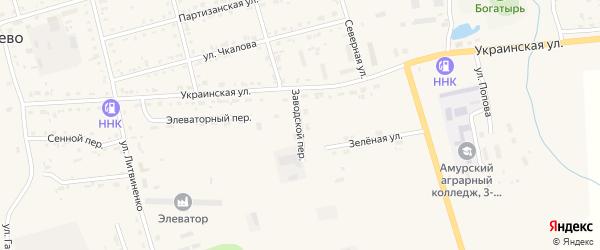 Заводской переулок на карте поселка Серышево с номерами домов