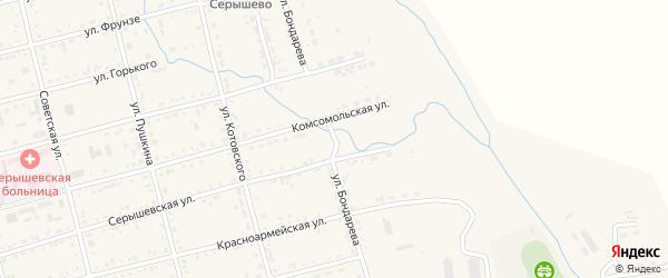 Улица Бондарева на карте поселка Серышево с номерами домов