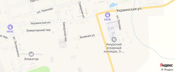 Зеленая улица на карте поселка Серышево с номерами домов