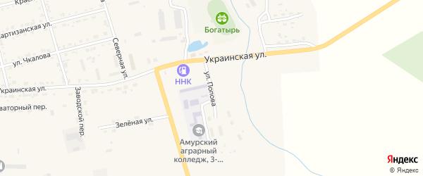 Улица Попова на карте поселка Серышево с номерами домов