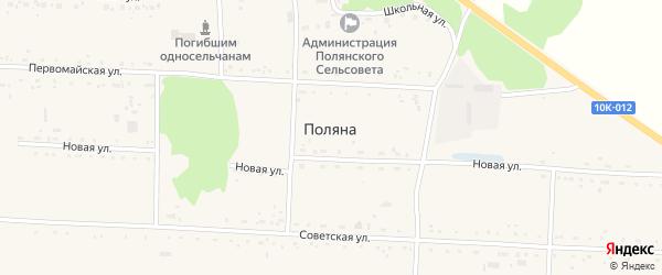 Первомайская улица на карте села Поляны с номерами домов