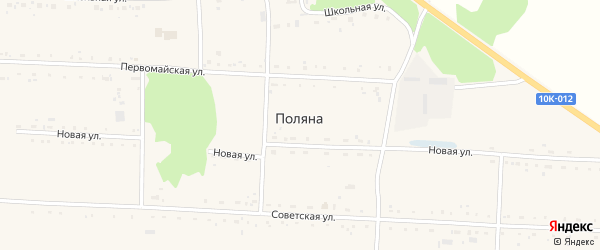 Школьный переулок на карте села Поляны с номерами домов
