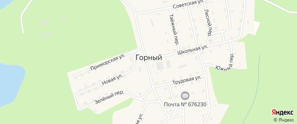 Школьная улица на карте Горного поселка с номерами домов