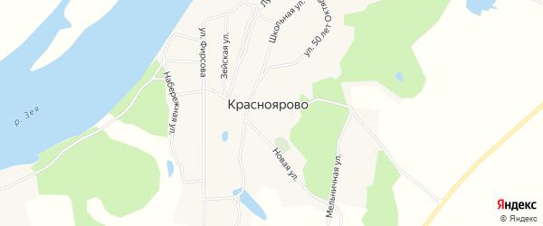 Карта села Красноярово в Амурской области с улицами и номерами домов