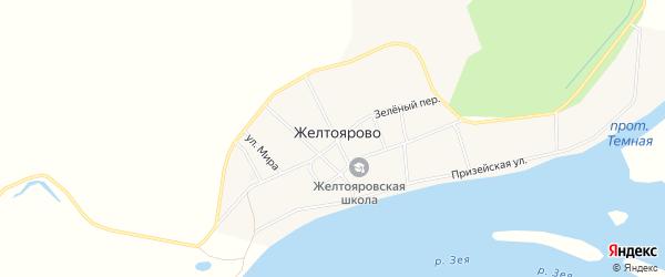 Карта села Желтоярово в Амурской области с улицами и номерами домов