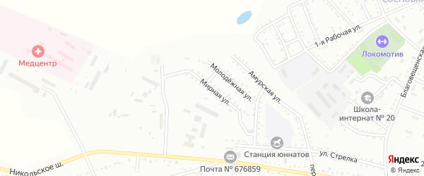Мирная улица на карте Белогорска с номерами домов