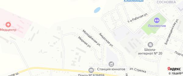 Молодежная улица на карте Белогорска с номерами домов