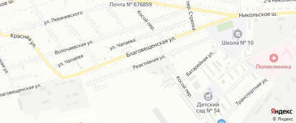 Реактивная улица на карте Белогорска с номерами домов
