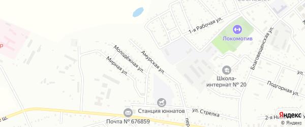 Амурская улица на карте Белогорска с номерами домов