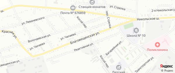 Благовещенская улица на карте Белогорска с номерами домов