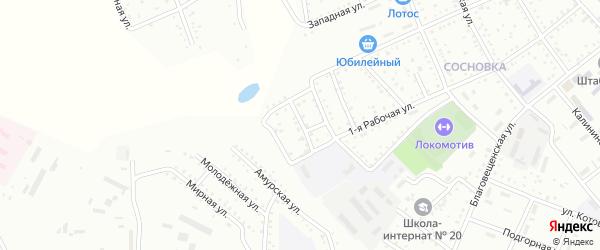 Сквозной переулок на карте Белогорска с номерами домов