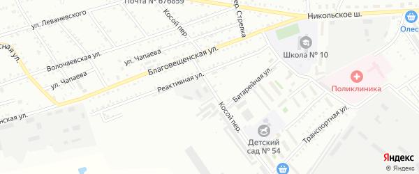 Косой переулок на карте Белогорска с номерами домов