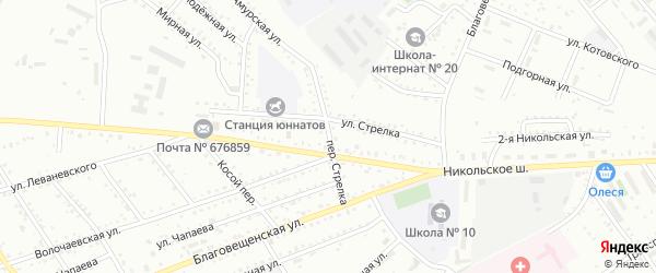 Переулок Стрелка на карте Белогорска с номерами домов