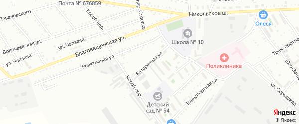 Батарейная улица на карте Белогорска с номерами домов