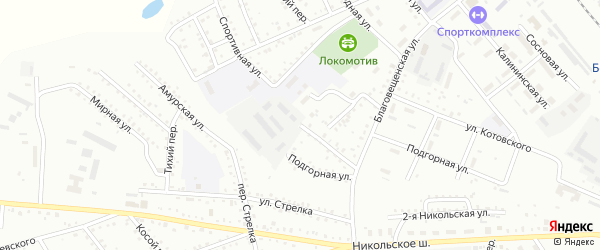 Спортивный переулок на карте Белогорска с номерами домов