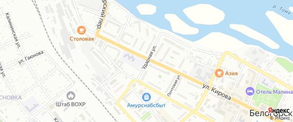 Ударная улица на карте Белогорска с номерами домов
