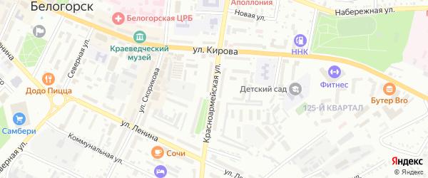 Красноармейская улица на карте Белогорска с номерами домов
