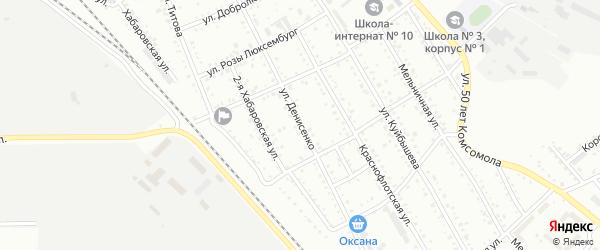 Улица Денисенко на карте Белогорска с номерами домов