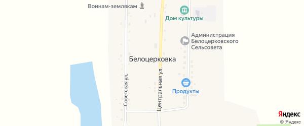 Центральная улица на карте села Белоцерковки с номерами домов