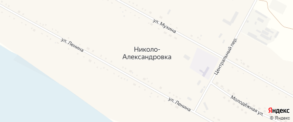 Центральный переулок на карте села Николо-Александровки с номерами домов