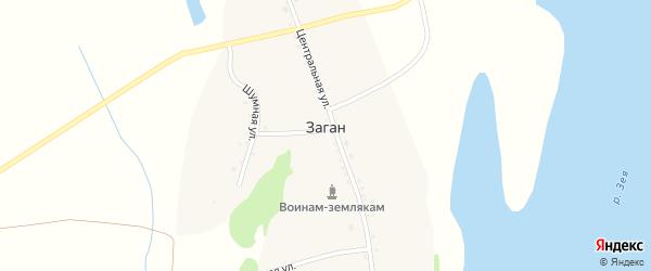 Шумная улица на карте села Загана с номерами домов