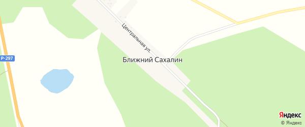 Центральная улица на карте села Ближнего Сахалина с номерами домов