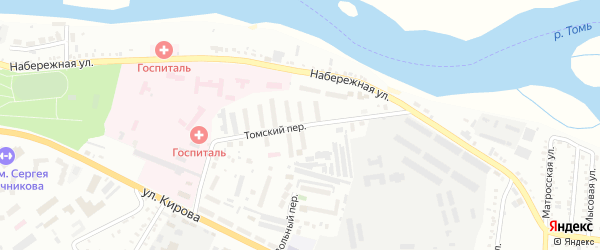 Томский переулок на карте Белогорска с номерами домов