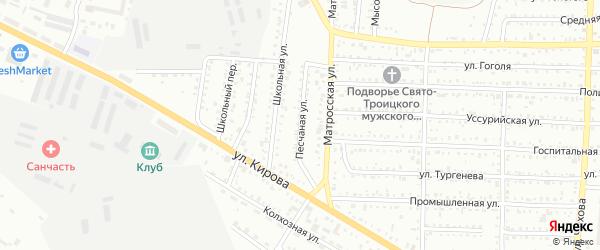 Песчаная улица на карте Белогорска с номерами домов