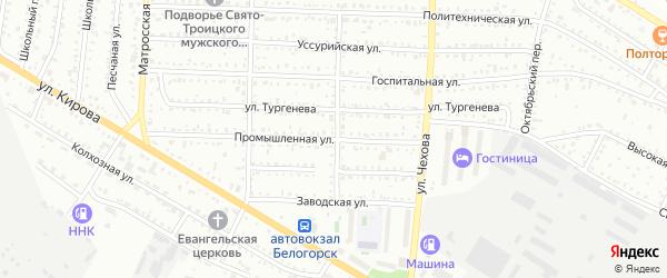 Промышленная улица на карте Белогорска с номерами домов