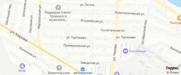 Улица Тургенева на карте Белогорска с номерами домов
