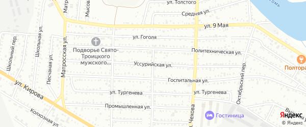 Уссурийская улица на карте Белогорска с номерами домов