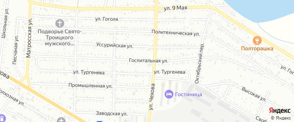 Госпитальная улица на карте Белогорска с номерами домов