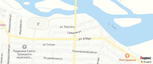 Средняя улица на карте Белогорска с номерами домов