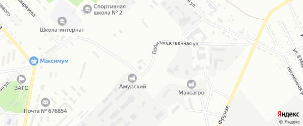 Производственная улица на карте Белогорска с номерами домов