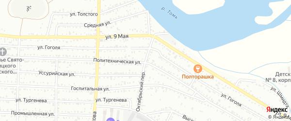 Октябрьский переулок на карте Белогорска с номерами домов