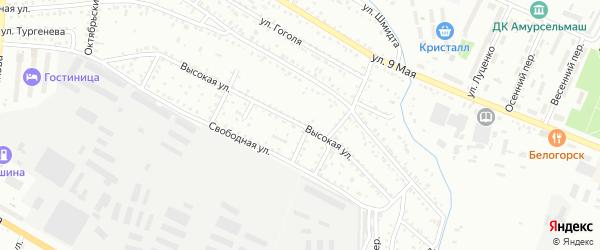 Высокая улица на карте Белогорска с номерами домов