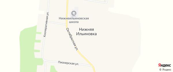 Советская улица на карте села Нижней Ильиновки с номерами домов