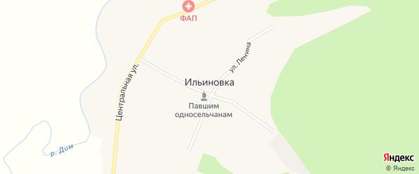 Лесная улица на карте села Ильиновки с номерами домов