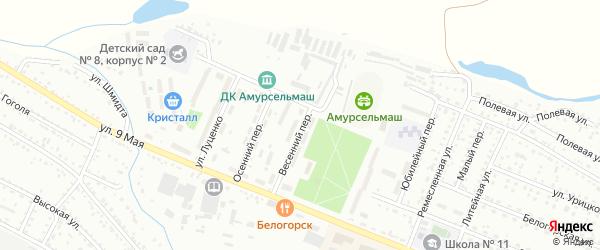 Весенний переулок на карте Белогорска с номерами домов