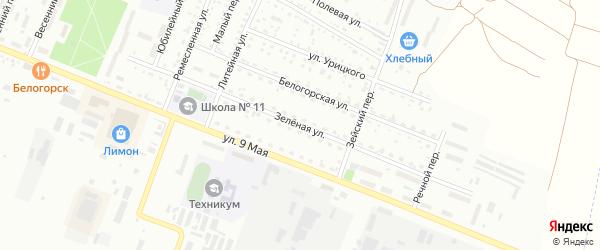 Зеленая улица на карте Белогорска с номерами домов