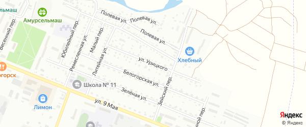 Улица Урицкого на карте Белогорска с номерами домов