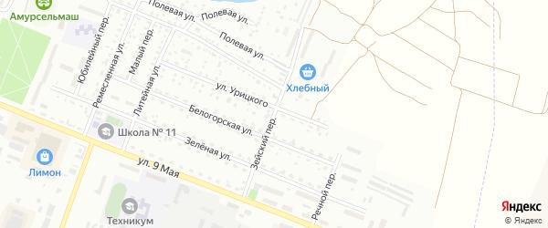 Зейский переулок на карте Белогорска с номерами домов