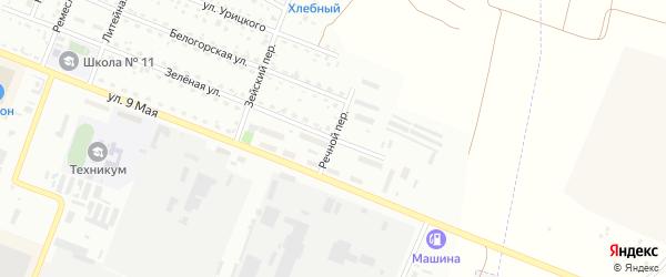 Речной переулок на карте Белогорска с номерами домов