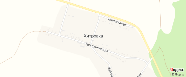 Дорожная улица на карте села Хитровки с номерами домов