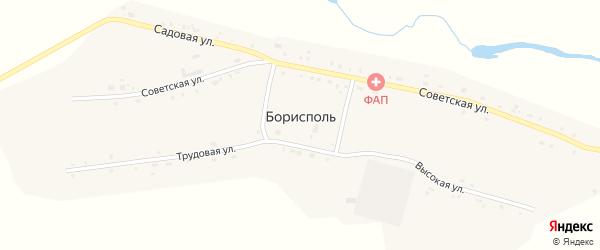Советская улица на карте села Борисполя с номерами домов
