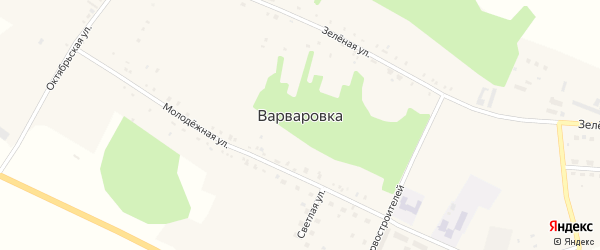 Улица Первостроителей на карте села Варваровки с номерами домов