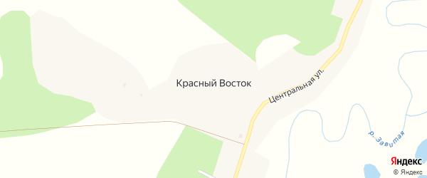 Центральная улица на карте села Красного Востока с номерами домов