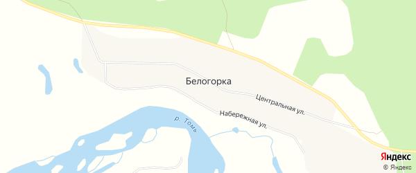 Карта села Белогорки в Амурской области с улицами и номерами домов