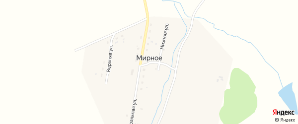 Центральная улица на карте Мирного села с номерами домов