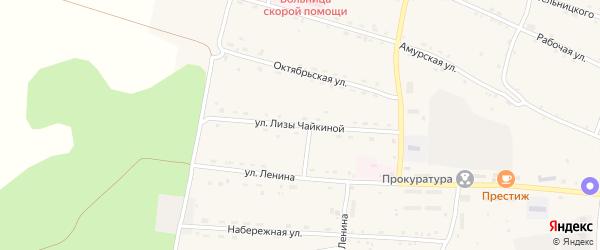 Улица Лизы Чайкиной на карте села Поярково с номерами домов